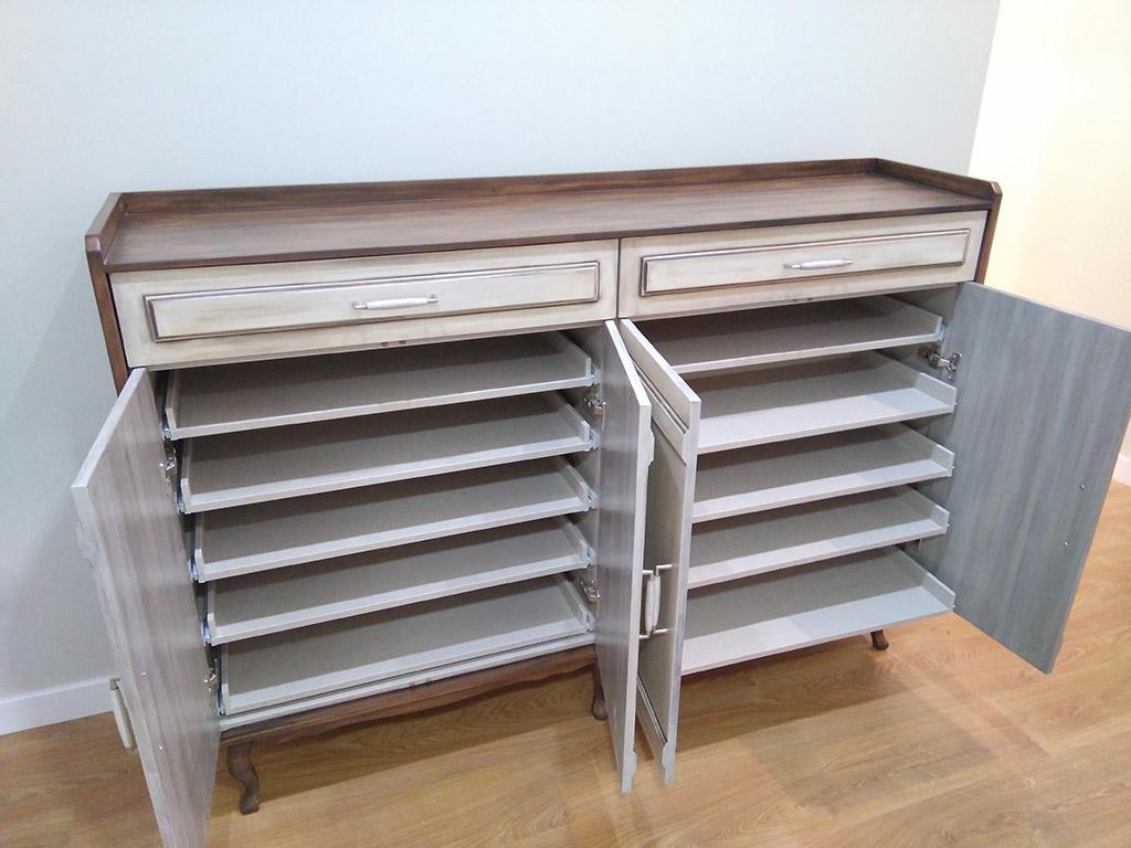 Mueble reciclado en armario zapatero de gran capacidad